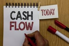 Escrita conceptual da mão que mostra o fluxo de caixa Movimento do texto da foto do negócio do dinheiro em e para fora de afetar  foto de stock royalty free