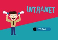 Escrita conceptual da mão que mostra o intranet Foto do negócio que apresenta a rede de comunicações local ou restrita ilustração do vetor