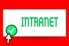 Escrita conceptual da mão que mostra o intranet Texto da foto do negócio local ou rede de comunicações restrita especialmente ilustração stock