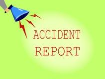 Escrita conceptual da mão que mostra o relatório de acidente Foto do negócio que apresenta o formulário de A que é detalhes compl ilustração do vetor