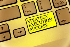 Escrita conceptual da mão que mostra o sucesso da execução da estratégia Foto do negócio que apresenta pondo o plano ou a lista e fotografia de stock royalty free
