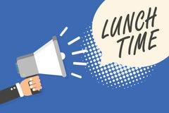 Escrita conceptual da mão que mostra o tempo do almoço Refeição do texto da foto do negócio no meio do dia após o café da manhã e ilustração royalty free
