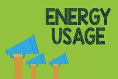 Escrita conceptual da mão que mostra o uso da energia Uma quantidade do texto da foto do negócio de energia consumida ou usada em ilustração stock