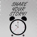 Escrita conceptual da mão que mostra a parte sua história O texto da foto do negócio diz experiências demonstratingal para falar  ilustração stock
