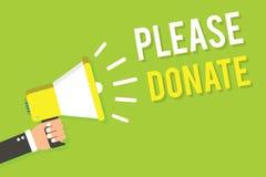 A escrita conceptual da mão que mostra por favor doa A fonte do texto da foto do negócio fornece distribui contribui Grant Aid ao ilustração stock