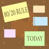 Escrita conceptual da mão que mostra a regra 80 20 Princípio de Pareto do texto da foto do negócio efeitos de 80 por cento vindos ilustração do vetor