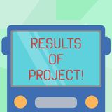 Escrita conceptual da mão que mostra resultados dos projetos Consequência ou resultado apresentando da foto do negócio de certo ilustração stock