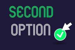 Escrita conceptual da mão que mostra a segunda opção Texto Fiddle Not seguinte da foto do negócio uma oportunidade alternativa se ilustração stock