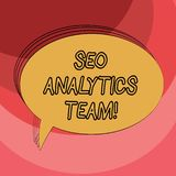 Escrita conceptual da mão que mostra Seo Analytics Team Exibição apresentando da foto do negócio que faz o processo que afeta a v ilustração do vetor