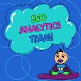 Escrita conceptual da mão que mostra Seo Analytics Team Exibição do texto da foto do negócio que faz o processo que afeta em linh ilustração royalty free