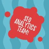 Escrita conceptual da mão que mostra Seo Analytics Team Exibição do texto da foto do negócio que faz o processo que afeta a Web e ilustração do vetor