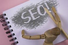 Escrita conceptual da mão que mostra Seo Motivational Call Otimização apresentando do Search Engine da foto do negócio que introd fotos de stock