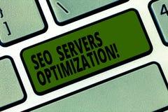 Escrita conceptual da mão que mostra Seo Servers Optimization Eficiência do funcionamento da rede do texto SEO da foto do negócio imagem de stock royalty free
