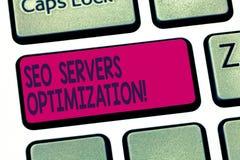 Escrita conceptual da mão que mostra Seo Servers Optimization Eficiência do funcionamento da rede do texto SEO da foto do negócio imagem de stock