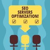 Escrita conceptual da mão que mostra Seo Servers Optimization Foto do negócio que apresenta o funcionamento da rede de SEO no máx ilustração royalty free