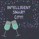Escrita conceptual da mão que mostra Smart City inteligente Texto da foto do negócio a cidade que tem uma energia mais esperta ilustração royalty free
