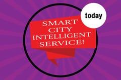 Escrita conceptual da mão que mostra a Smart City o serviço inteligente O texto da foto do negócio conectou moderno tecnologico ilustração royalty free