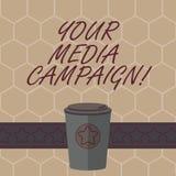 Escrita conceptual da mão que mostra sua campanha dos meios Esforço de mercado do texto da foto do negócio para reforçar a assist ilustração royalty free