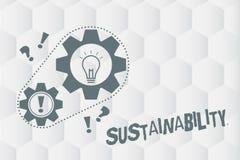 Escrita conceptual da mão que mostra a sustentabilidade Foto do negócio que apresenta a capacidade para ser mantido em uma determ ilustração royalty free