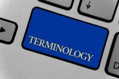 Escrita conceptual da mão que mostra a terminologia Coleção do texto da foto do negócio dos termos usados pela indústria diferent ilustração do vetor