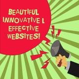 Escrita conceptual da mão que mostra Web site inovativos e eficazes bonitos Atrativo bem cozido do texto da foto do negócio ilustração do vetor