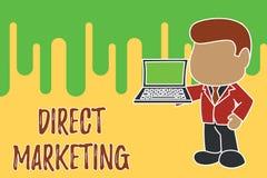 Escrita conceptual da m?o que mostra o marketing direto Neg?cio apresentando da foto do neg?cio de vender produtos ou servi?os a ilustração do vetor