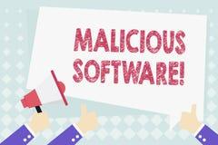 Escrita conceptual da m?o que mostra o software malicioso Foto do neg?cio que apresenta o software que traz o dano ? ilustração royalty free