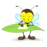 Escrita da abelha na folha Imagens de Stock Royalty Free