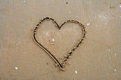Escrita da areia Fotografia de Stock Royalty Free
