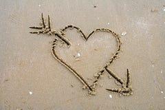 Escrita da areia Fotos de Stock Royalty Free