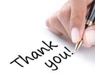 A escrita da mão agradece-lhe Fotografia de Stock Royalty Free