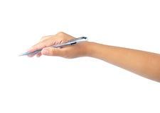 Escrita da mão com pena Fotografia de Stock