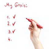 Escrita da mão com um marcador Imagens de Stock