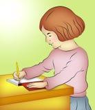 Escrita da menina ilustração do vetor