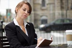 Escrita da mulher de negócio em seu jornal imagem de stock