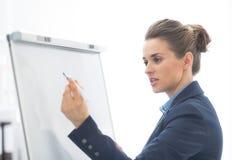 Escrita da mulher de negócio no flipchart fotos de stock