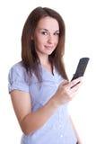 Escrita da mulher/mensagem bonitas novas da leitura Imagens de Stock
