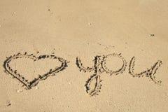 Escrita da praia Imagens de Stock