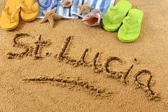 Escrita da praia de St Lucia Imagem de Stock