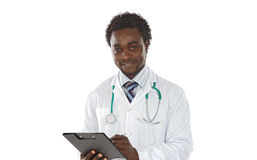 Escrita do doutor do homem do americano africano Imagem de Stock Royalty Free