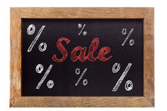 Escrita do giz da venda com sinais de porcentagem no quadro Fotografia de Stock Royalty Free