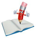 Escrita do homem do lápis dos desenhos animados no livro Imagens de Stock Royalty Free