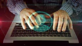 Escrita do homem no teclado do portátil com holograma principal da forma fotos de stock royalty free