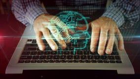 Escrita do homem no teclado do portátil com inteligência artificial foto de stock