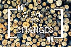 A escrita do texto da escrita adapta-se às mudanças Adaptação inovativa das mudanças do significado do conceito com evolução tecn fotos de stock royalty free