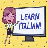 A escrita do texto da escrita aprende italiano Conceito que significa o ganho ou para adquirir o conhecimento de falar e de escre ilustração stock