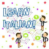 A escrita do texto da escrita aprende italiano Conceito que significa o ganho ou para adquirir o conhecimento de falar e de escre ilustração royalty free