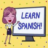 A escrita do texto da escrita aprende o espanhol Conceito que significa o ganho ou para adquirir o conhecimento de falar e de esc ilustração royalty free
