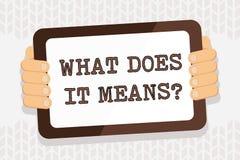 A escrita do texto da escrita o que o faz significa a pergunta E ilustração stock