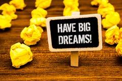 A escrita do texto da escrita tem a chamada inspirador dos sonhos grandes Blac futuro do texto de Desire Motivation Goal White da imagem de stock royalty free